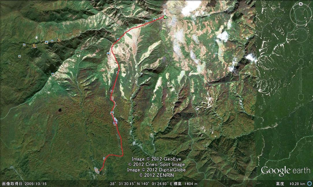 グーグルアースの衛星写真。