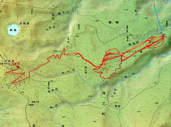 GPSでのスキートレース、クリックですみかわスキー場のビデオが動きます。