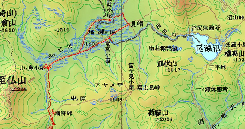 鳩待峠ー尾瀬ケ原ー尾東電小屋のGPPSトレースmap、クリックで拡大します。